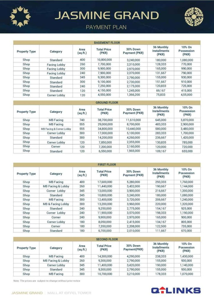 Jasmine Grand Mall Bahria Town Lahore Shops Prices Installments Payment Plan Booking 1