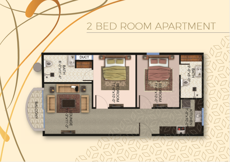 Theme Residency - 2 Bed Room Apartment