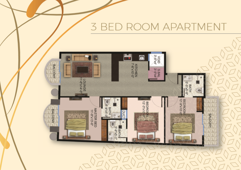 Theme Residency - 3 Bed Room Apartment