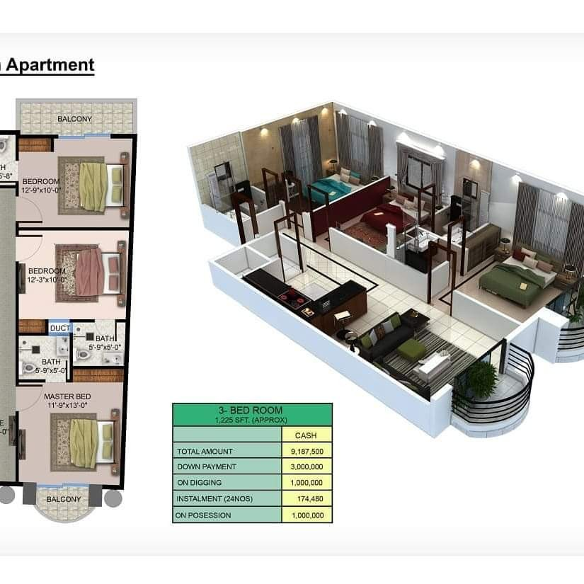 Theme Residency - 3 Bed Room Apartment View