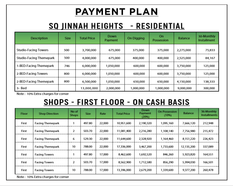 Studio Apartment in SQ Jinnah Heights - Residential & Shops Payment Plan - Bahria Town