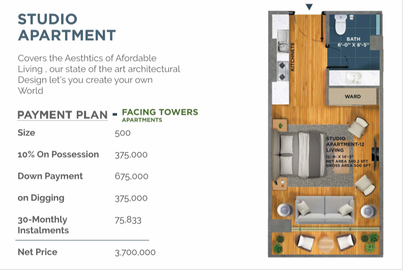 Studio Apartment in SQ Jinnah Heights - Payment Plan - Tower Facing - Bahria Town