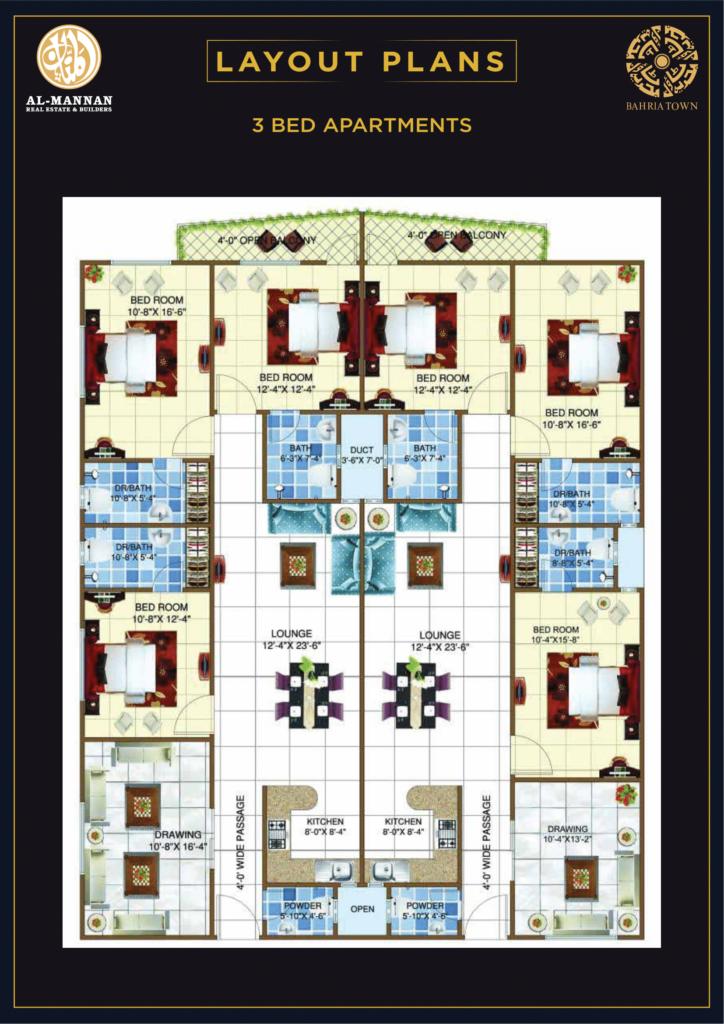 3 Bedroom Apartment Plan - Theme Park Tower