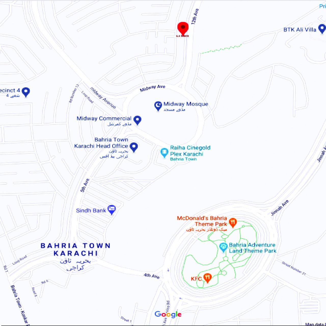 Map GA Associates Estate & Builders - Bahria Town Karachi
